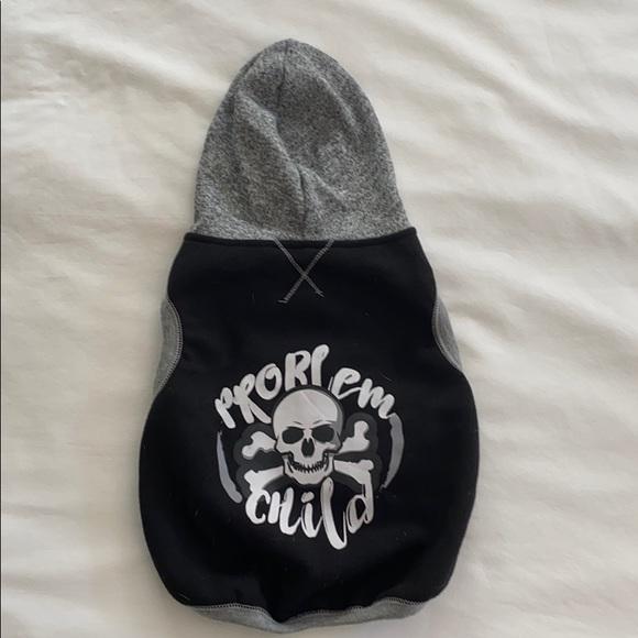 "Other - Dog hoodie vest ""problem child""☠️ medium EUC"